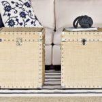 william sonoma home cube natural raffia nailhead trim nickel fittings hardware storage side table pair living room coffee table